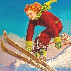 Пазл онлайн: Весёлая лыжница