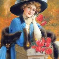 Пазл онлайн: Девушка с гвоздиками