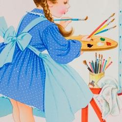 Пазл онлайн: Маленькая художница