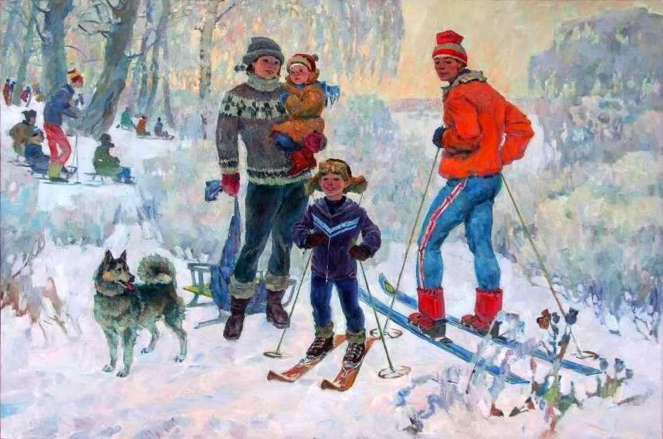 Катание детей на лыжах картинки