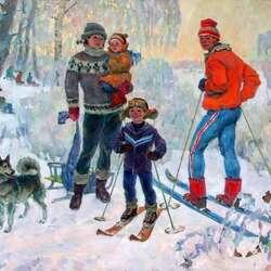 Пазл онлайн: Семья  на лыжной прогулке
