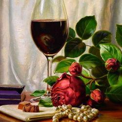 Пазл онлайн: Роза,вино и жемчуг