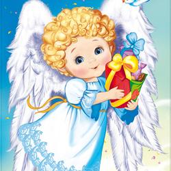 Рисунок ангелочек с подарком 65