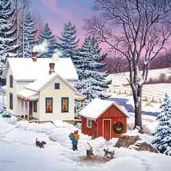 Пазл онлайн: Рождество на севере страны