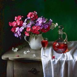 Пазл онлайн: Натюрморт с флоксами и вином