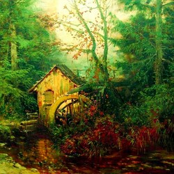 Пазл онлайн: Лесной пейзаж с водяной мельницей