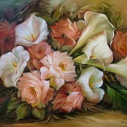 Пазл онлайн: Розы и каллы