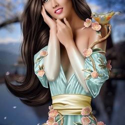 Пазл онлайн: Девушка - статуэтка