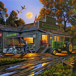 Пазл онлайн: Вечер на ферме