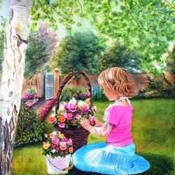 Пазл онлайн: Девочка в саду