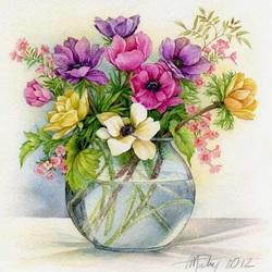 Пазл онлайн: Анемоны в вазе