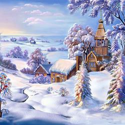Пазл онлайн: Опять зима