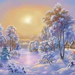 Пазл онлайн: Морозный вечер