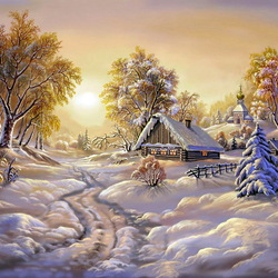 Пазл онлайн: Зимние сумерки