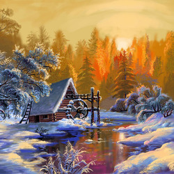 Пазл онлайн: Мельница зимой