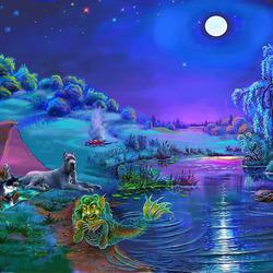 Пазл онлайн: Лунной ночью