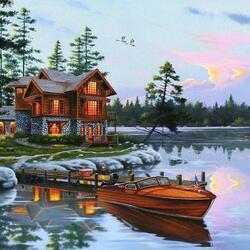 Пазл онлайн: Лодка у дома