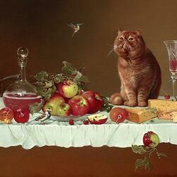 Пазл онлайн: Натюрморт с котом