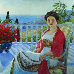 Пазл онлайн: Дама на балконе