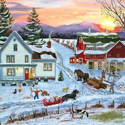 Пазл онлайн: Дуэль в снежки