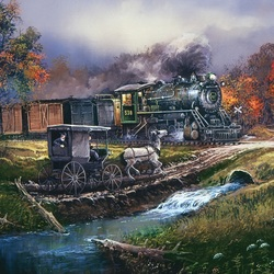 Пазл онлайн: Железнодорожный переезд