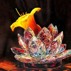 Пазл онлайн: Цветок хрустальный и живой