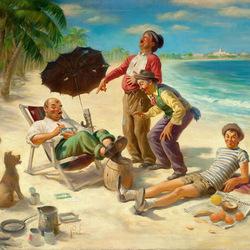 Пазл онлайн: Бродяги на пляже