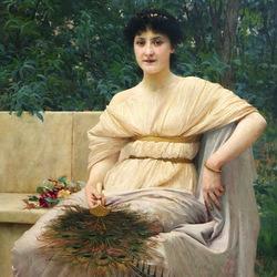 Пазл онлайн: Портрет молодой женщины с веером