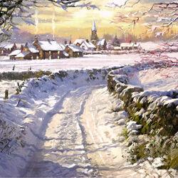 Пазл онлайн: Снежная дорога