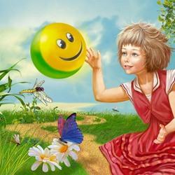 Пазл онлайн: Девочка и мячик