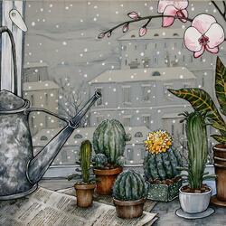 Пазл онлайн: Натюрморт с кактусами
