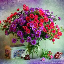 Пазл онлайн: Фотонатюрморт с цветами
