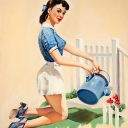 Пазл онлайн: Девушка, поливающая цветы