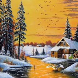 Пазл онлайн: Зимний день