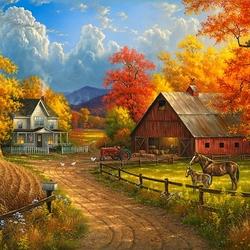 Пазл онлайн: Осенняя ферма