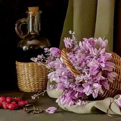 Пазл онлайн: Натюрморт с вином, цветами и клубникой