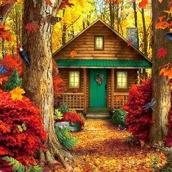 Пазл онлайн: Дом в лесу