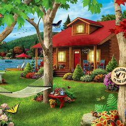 Пазл онлайн: Дом на берегу озера
