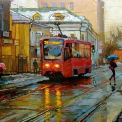 Пазл онлайн: Малиновый трамвайчик на Бауманской улице