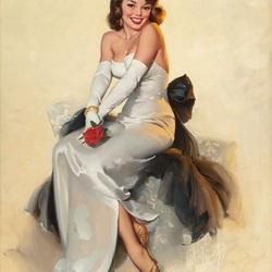 Пазл онлайн: Красавица в белом