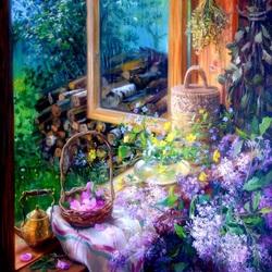 Пазл онлайн: Летнее окно с цветами