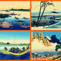 Пазл онлайн: Японские гравюры Хокусая