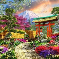 Пазл онлайн: Цветы Фудзи
