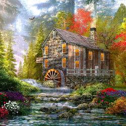 Пазл онлайн: Старая мельница в лесу