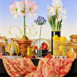 Пазл онлайн: Натюрморт с белыми ирисами