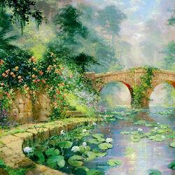 Пазл онлайн: Мост у пруда
