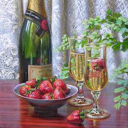 Пазл онлайн: Клубника и шампанское