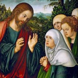 Пазл онлайн: Прощание Христа с Марией