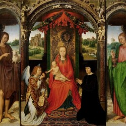 Пазл онлайн: Триптих с Богоматерью и Младенцем на престоле