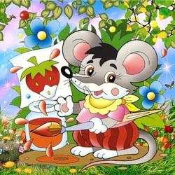 Пазл онлайн: Мышь художник